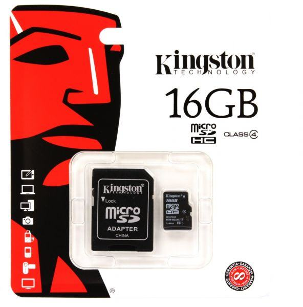 Micro SDHC 16GB Transflash Kingston 1 Adapter SDC4/16